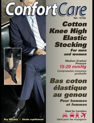 Bas Support Élastique au Genoux pour Homme ou femme (15-20mmHg) Knee High Elastic Support Stockings for men & women.