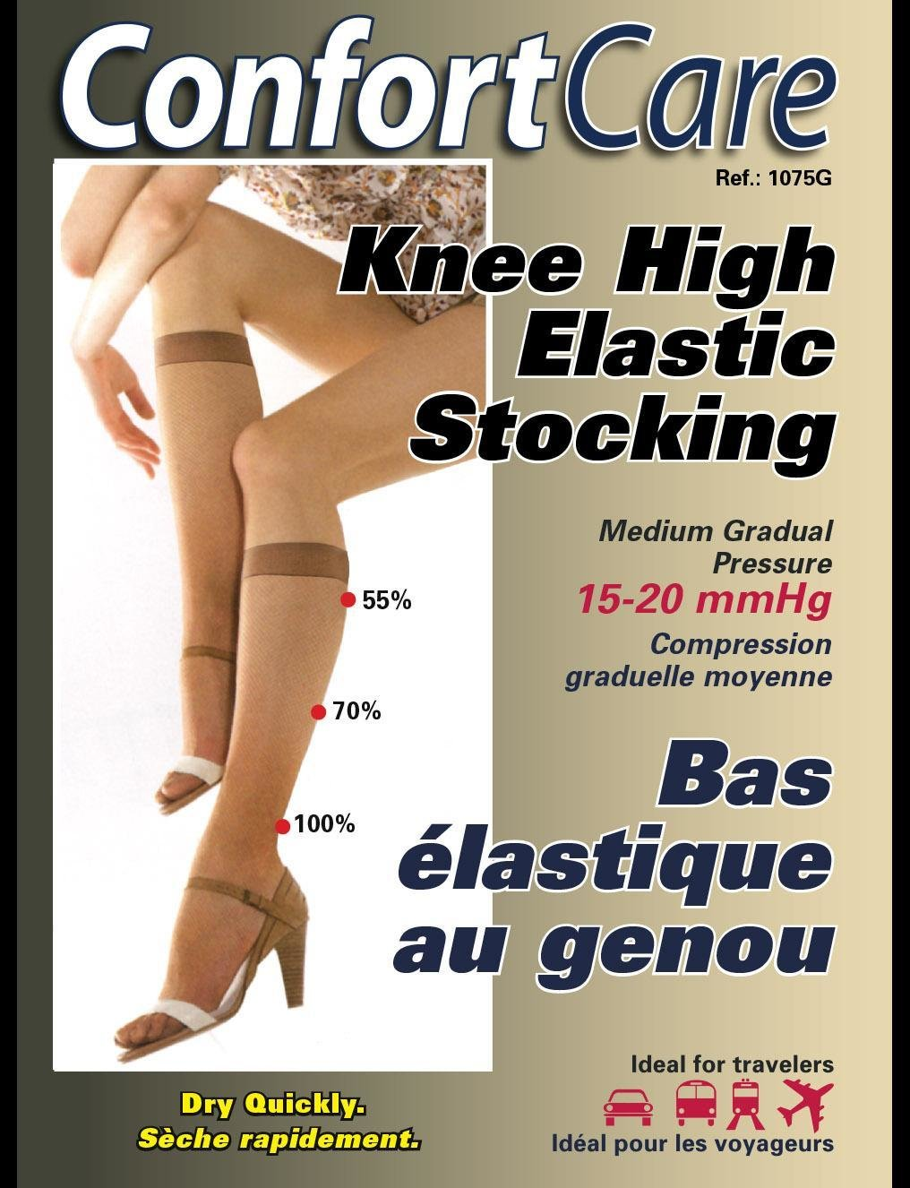 Bas au Genou Support moyen Élastique (15-20mmHg) Knee High medium Elastic Support Stockings.
