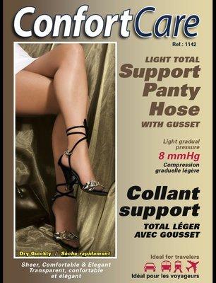Spécial #1142 : 4 PRS X $40.00 Bas Culotte Élastique support léger (8mmHg) Elastic Panty Hose light support .