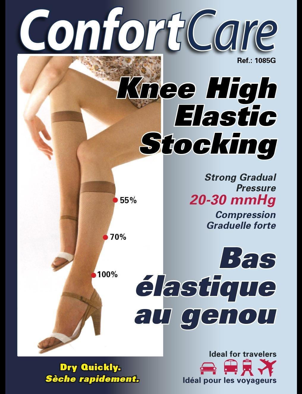 Spécial 1085g 2PRS. X $80.00 Bas Élastique au Genou compression forte(20-30mmHg) High compression Elastic Stoking.