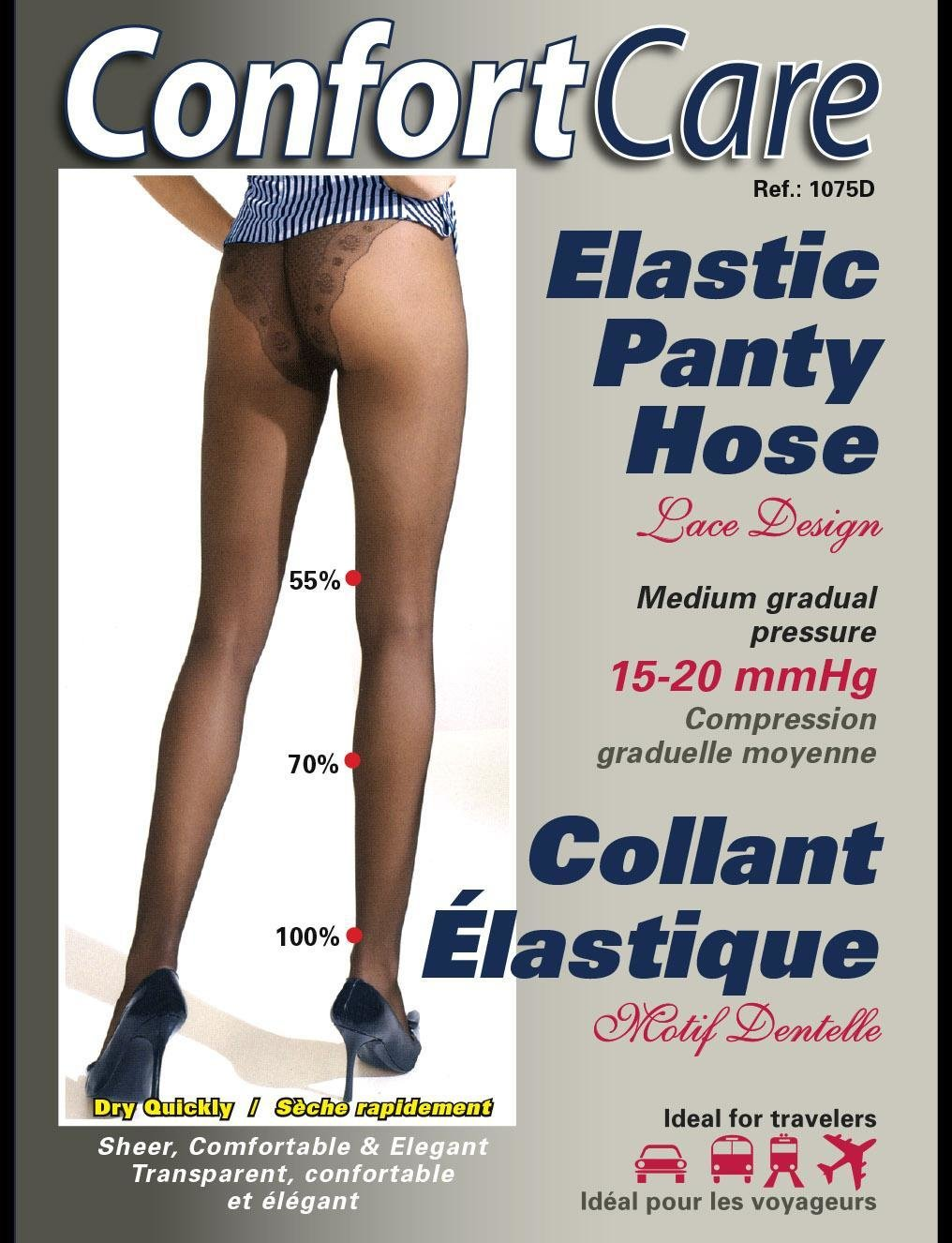 Spécial #1075D 3PRS. X $60.00 Collant Èlastique Motif Dentelle Support moyen (15-20mmHg) Elastic medium Support  Panty Hose ( Lace Design).