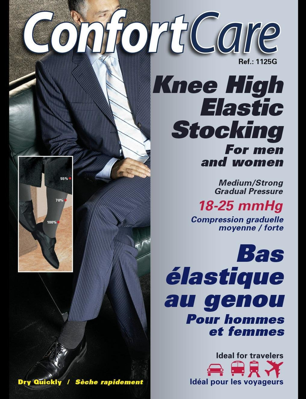Spécial #1125g 3PRS. X $50.00 Bas Élastique au Genoux Support moyen pour Homme ou femme ( 18-25mmHg) Knee high medium support Elastic  Stockings for men & women.