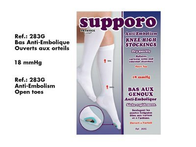 Supporo Bas au Genou Anti-Embolique ouvert à l'orteille (18mmHg) Supporo Knee High Stockings  Anti-Embolism open Toe.