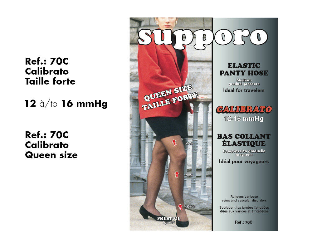 Spécial 3 prs.$100.00 Supporo Bas Collant Élastique Taille Forte Moyen léger(12-16mmHg) Special, Supporo Elastic light medium Panty Hose Queen Size  Callibrato.