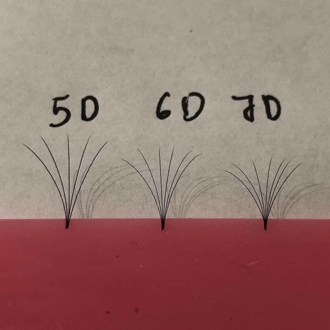 pre hand fans ( A Box of 500 Fans) 5D D curl 10mm 0.07