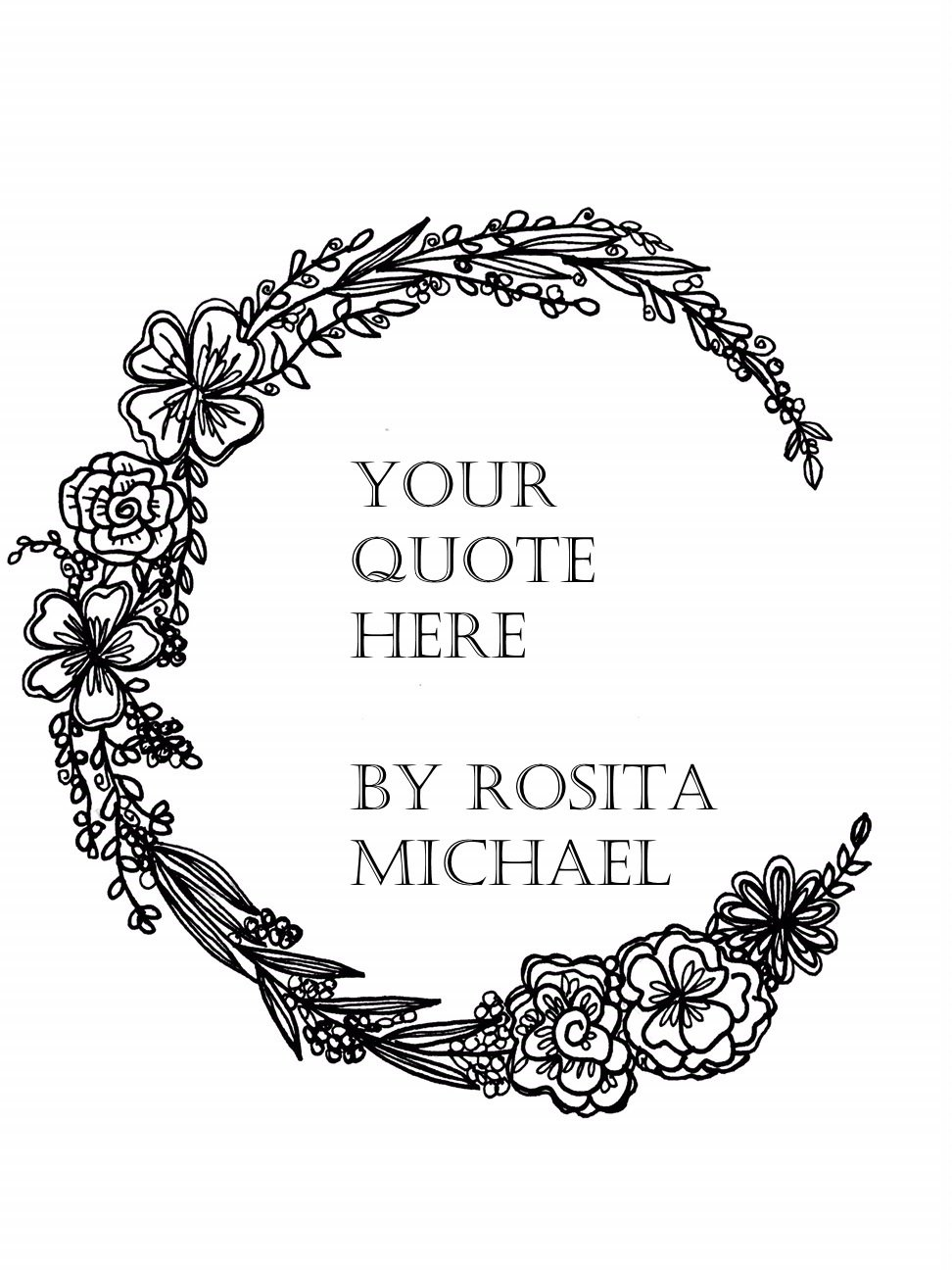 picture about Wreath Printable identified as Hand-drawn floral wreath printable with personalized wordings