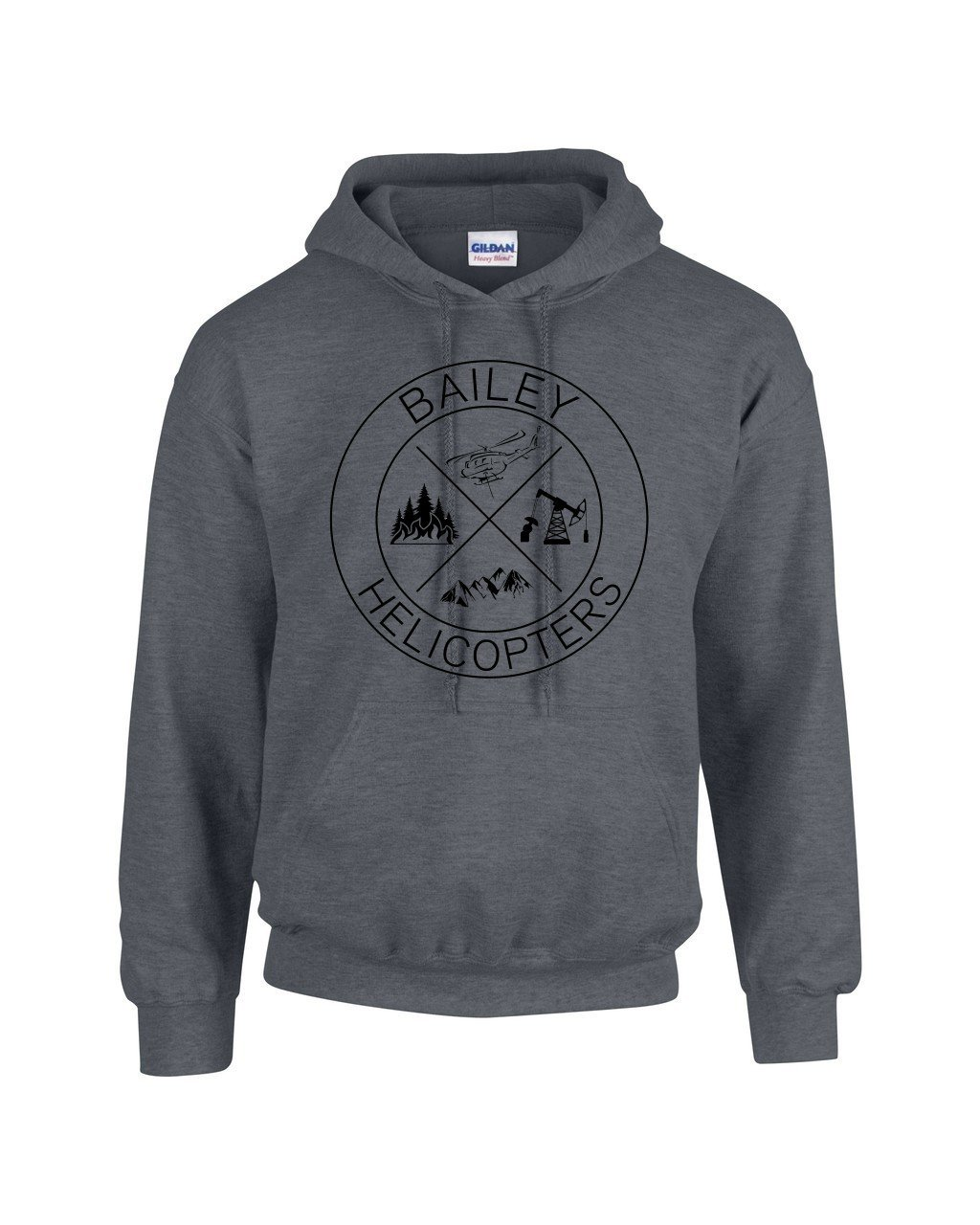 Adult Hooded Sweat Shirt Dark Heather - Helicopter