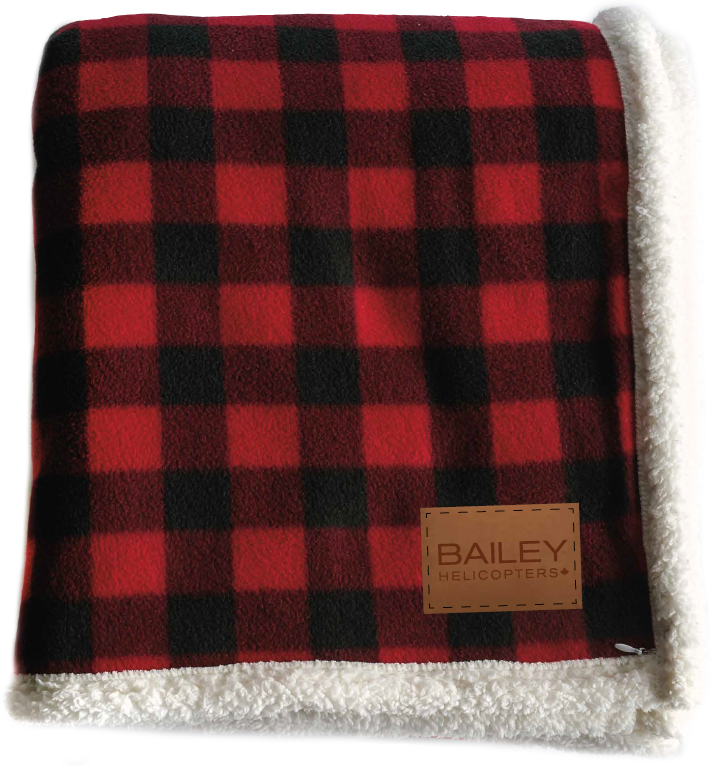 Bailey Helicopters Lumberjack Sherpa Throw Buffalo Plaid/Copper Leather Patch