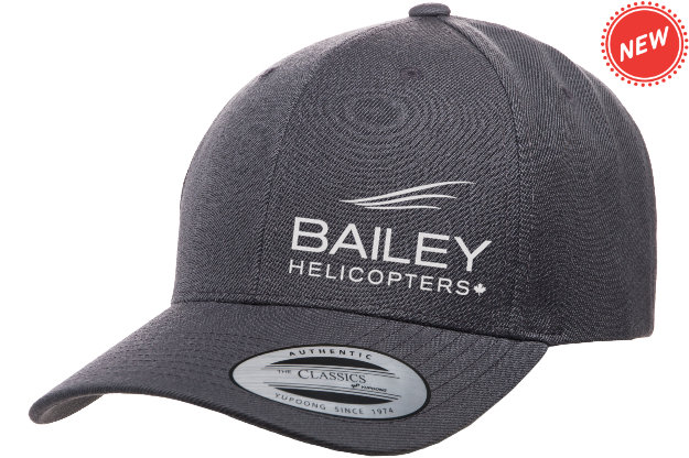 Bailey Helicopters Yupoong Premium Curved Visor Snapback Dark Grey/Silver Embriodery