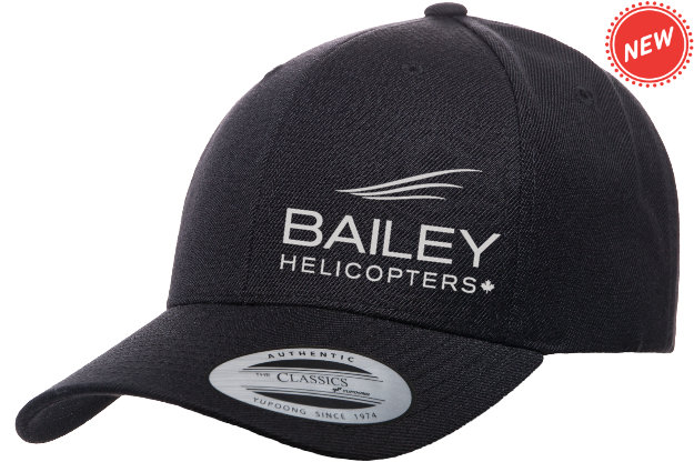 Bailey Helicopters Yupoong Premium Curved Visor Snapback Black/Silver Embroidery
