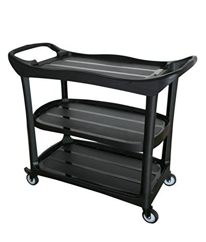 Large Size Utility Cart 3 Shelf Cart with Heavy Duty Plastic
