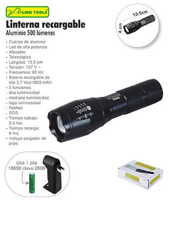 Linterna recargable aluminio