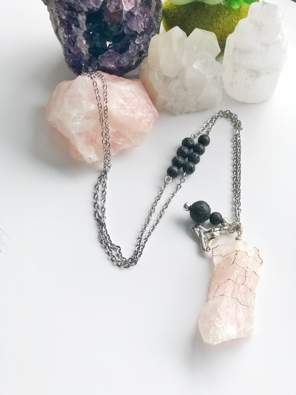 Rose Quartz Wire Wrapped Aroma Necklace