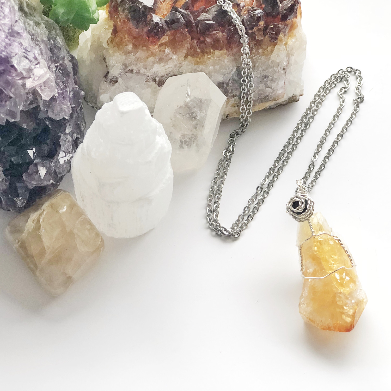 Citrine Crystal Aroma Necklace