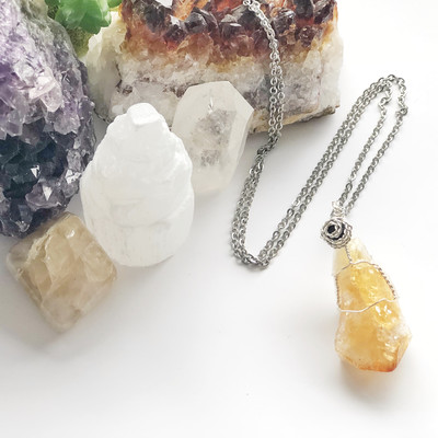 Citrine Crystal Aroma Necklace