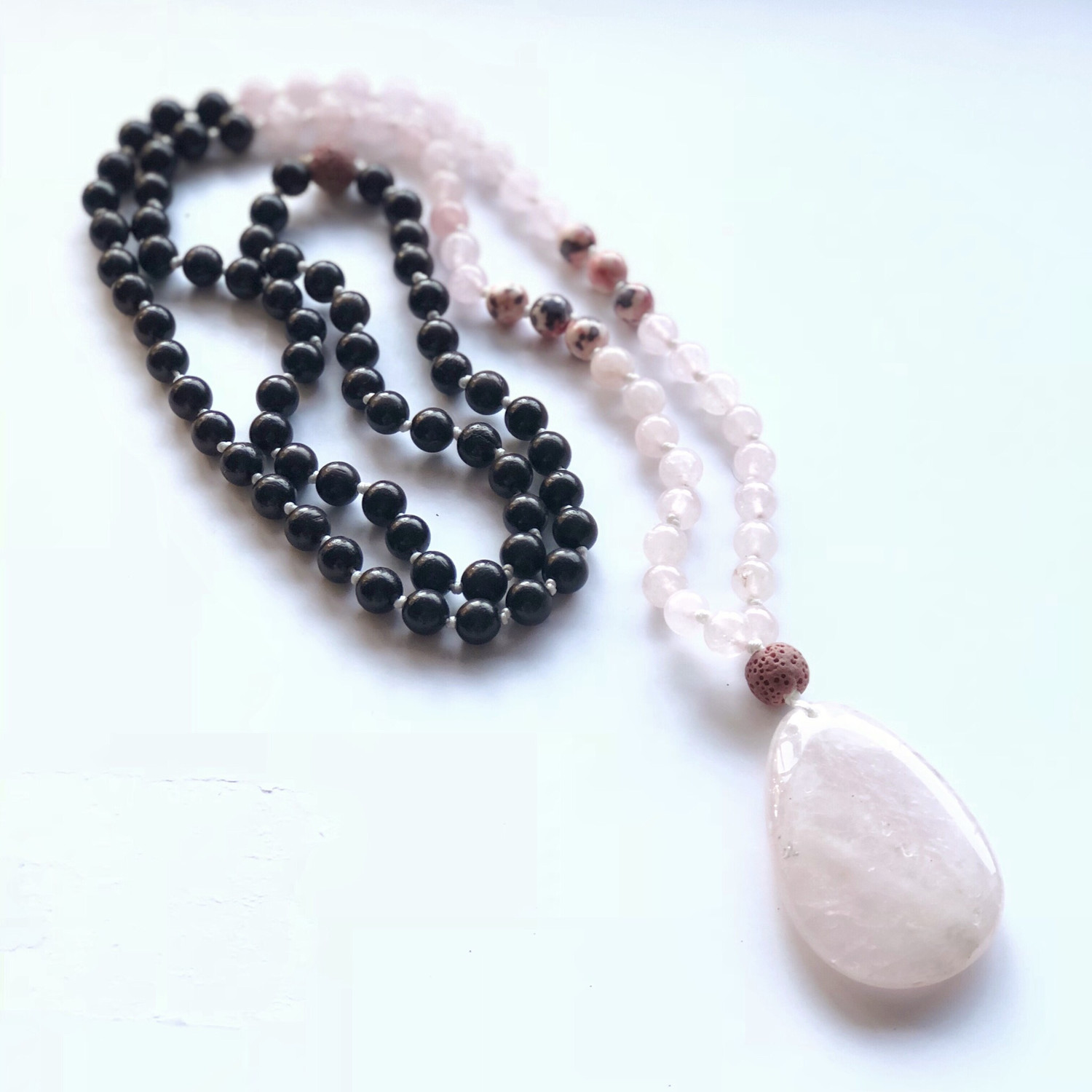 Rose Quartz and Wood Mala