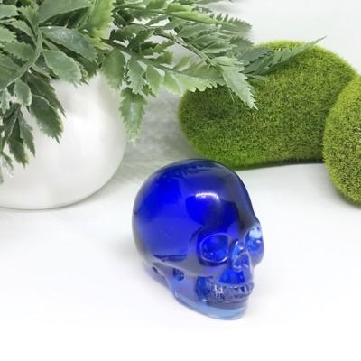 Deep Blue Obsidian Skull