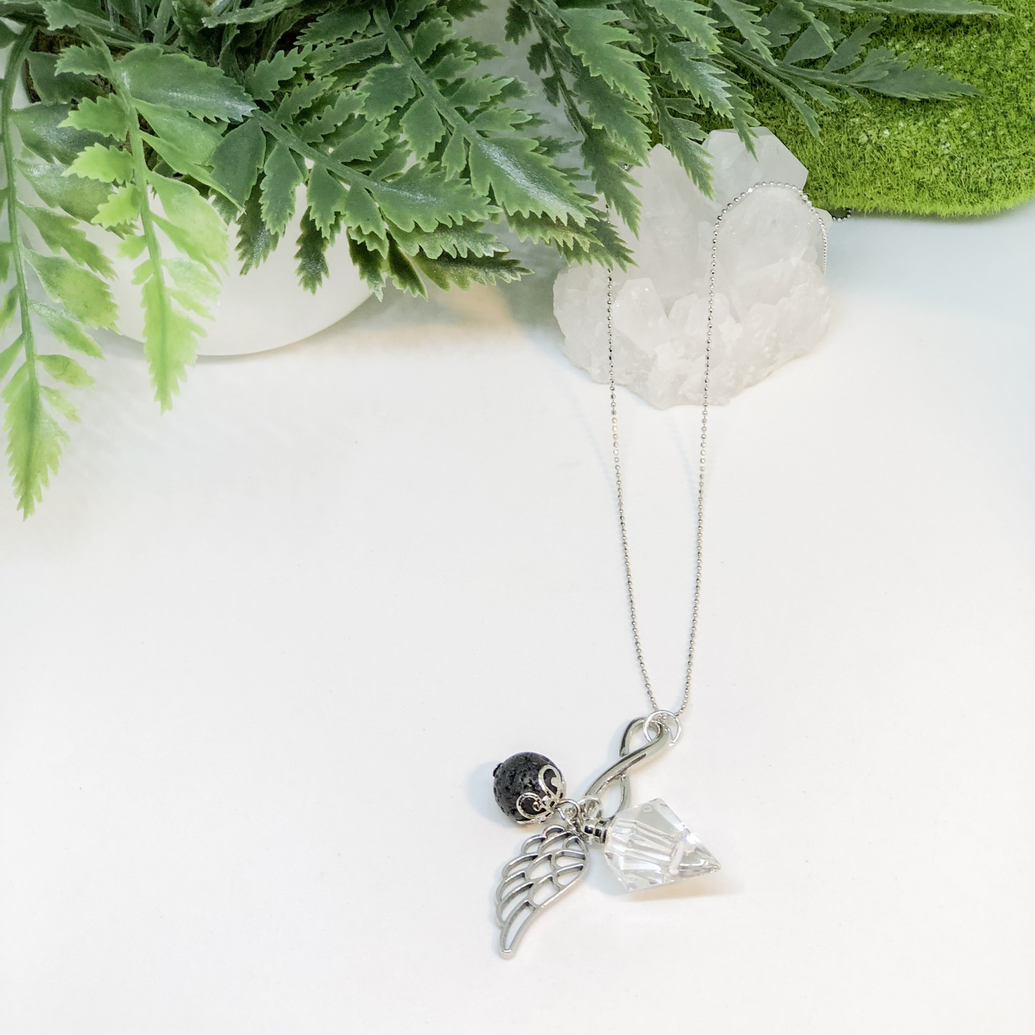 Infinity Essential Oil Diamond Bottle Necklace