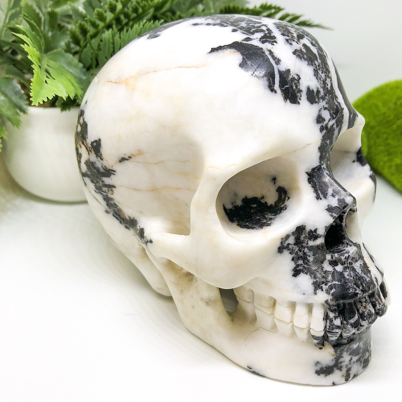 Zebra Jasper Skull