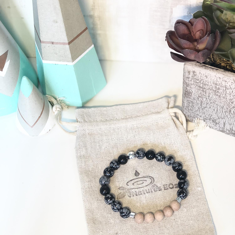 Snowflake Obsidian & Rosewood Aroma Bracelet