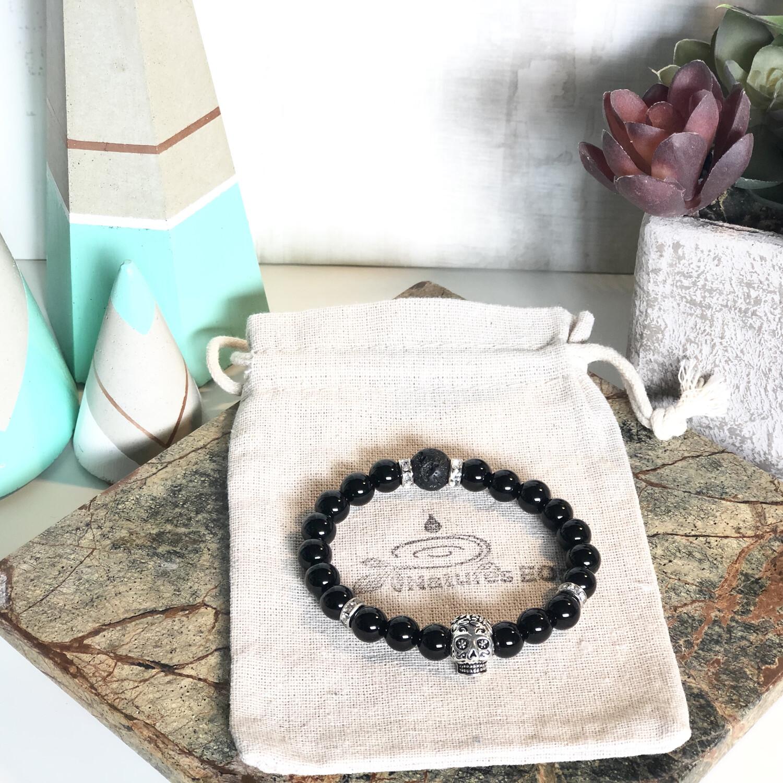 Black Onyx Sugar Skull Aroma Bracelet
