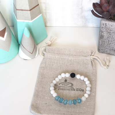 Aquamarine & White Agate Aroma Bracelet