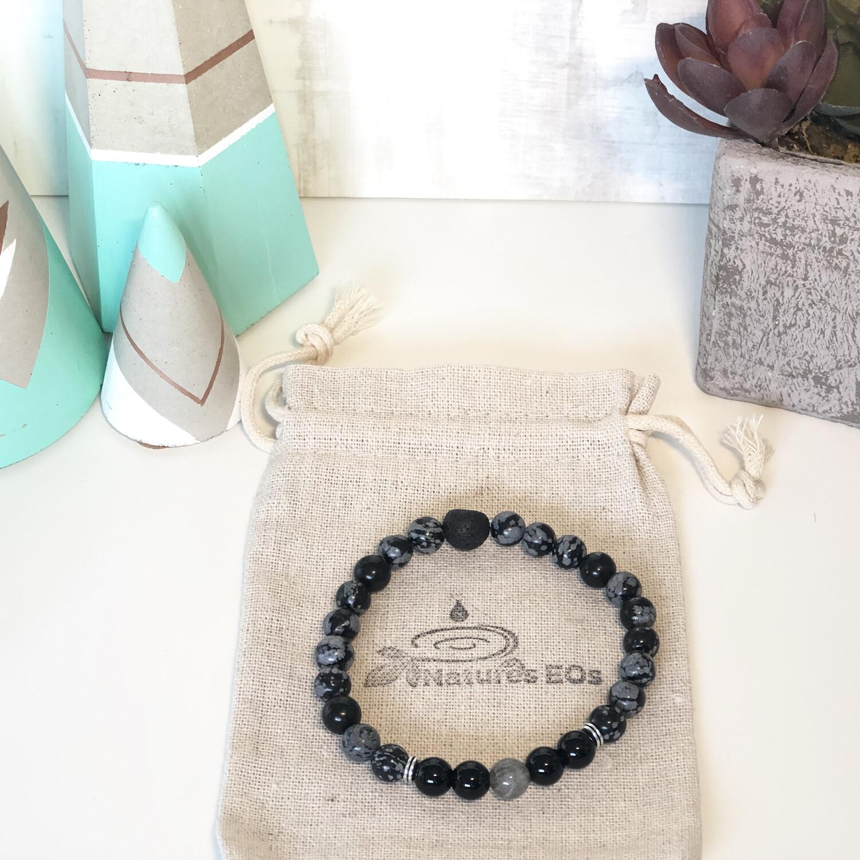 Snowflake Obsidian, Onyx & Labradorite Aroma Bracelet