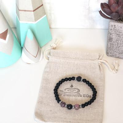 Black Onyx & Rhodonite Aroma Bracelet