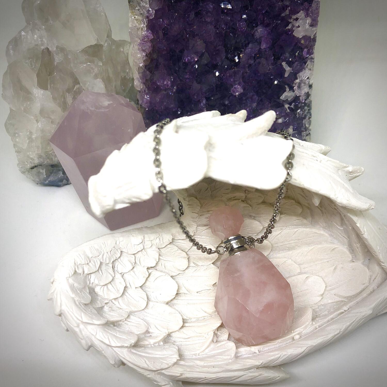 Rose Quartz Bottle Necklace