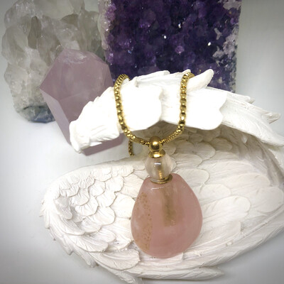 Rose Quartz Bottle Necklace