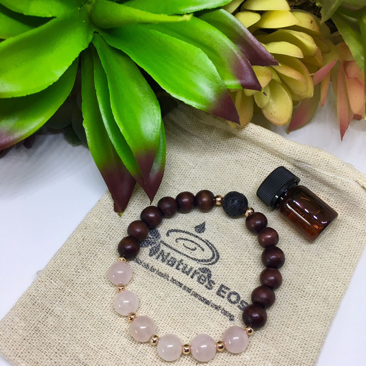 Rose Quartz and Mahogany Wood Aroma Bracelet