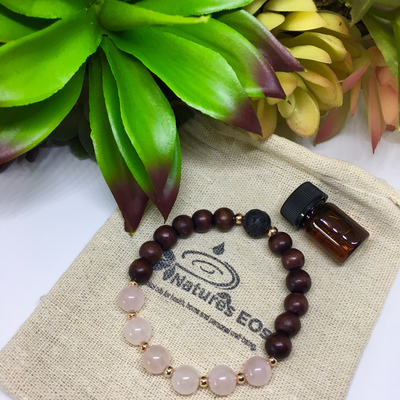 Rose Quartz and Mahogany Wood Aroma Bracelet