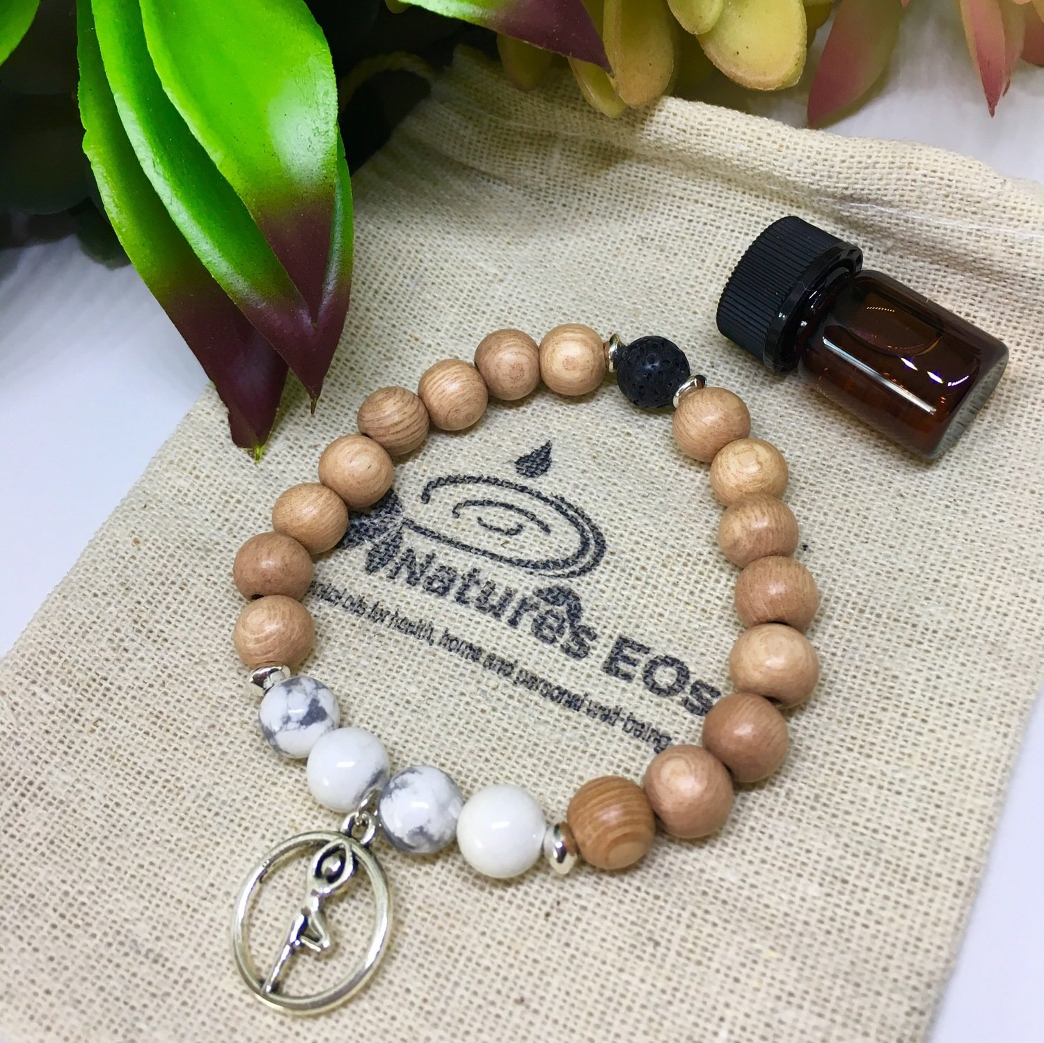 Rosewood and Howlite Yoga Pose Aroma Bracelet