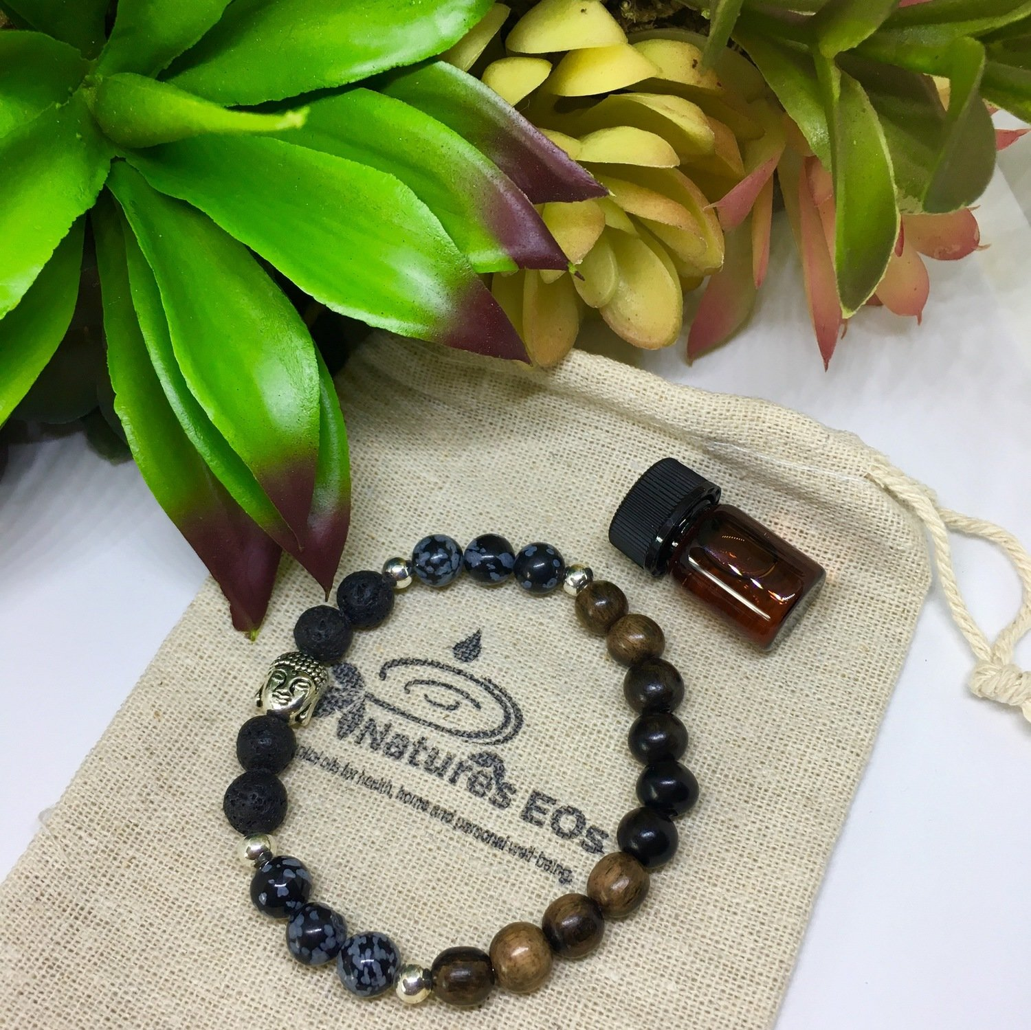 Tiger Eye Wood with Snowflake Obsidian Aroma Bracelet
