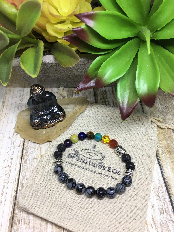 Chakra with Snowflake Obsidian Aroma Bracelet