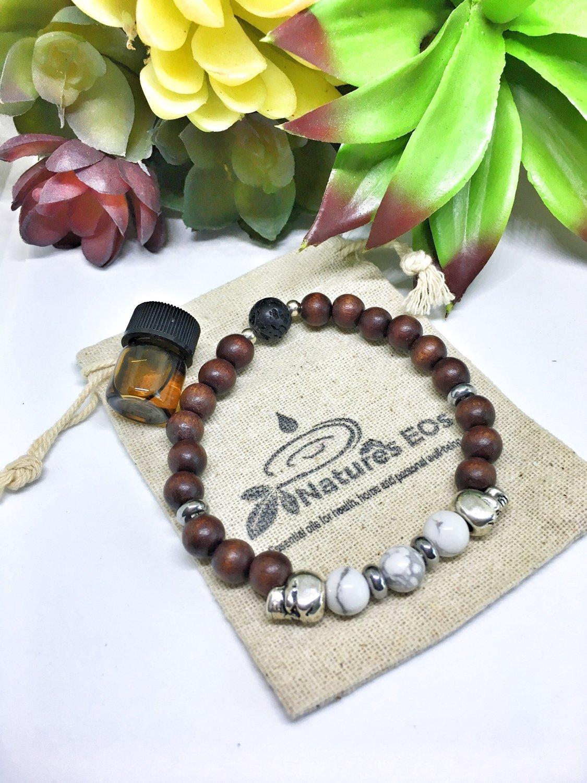 Men's Wood and Skull Aroma Bracelet