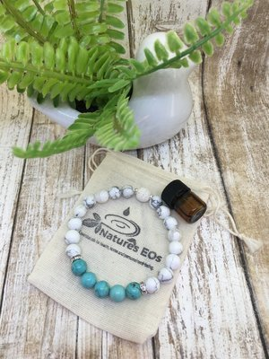 Howlite and Turquoise Aroma Bracelet