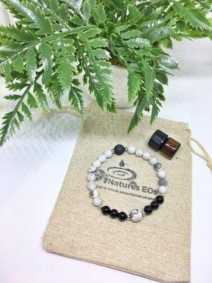Howlite and Black Onyx Aroma Bracelet