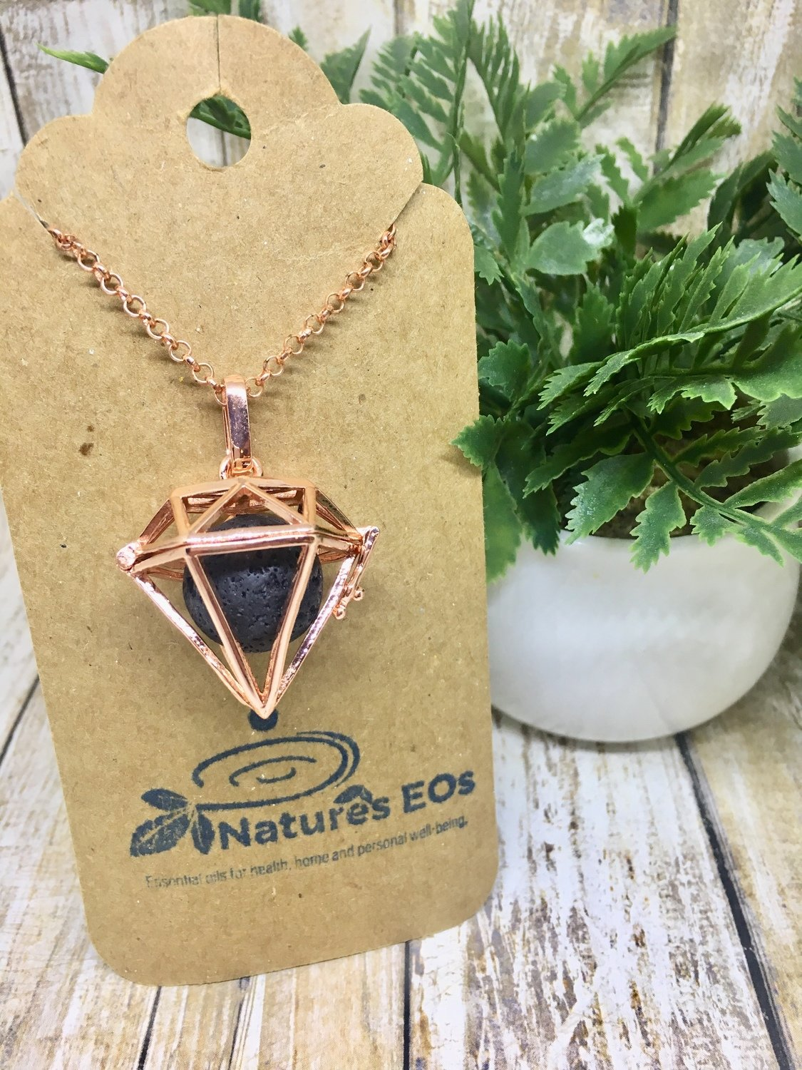 "Copper Diffuser Necklace ""Diamond"""