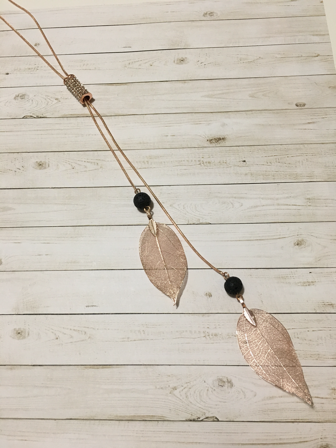 Rose Gold Leaf Aroma Necklace