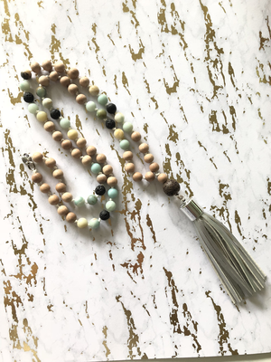 Beaded Rosewood and Amazonite  Tassel Necklace