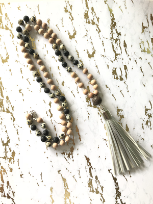 Beaded Rosewood and Dalmatian Jasper Tassel Necklace