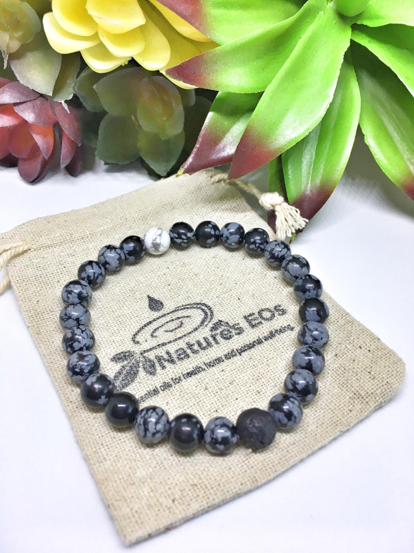 Men's Snowflake Obsidian Aroma Bracelet