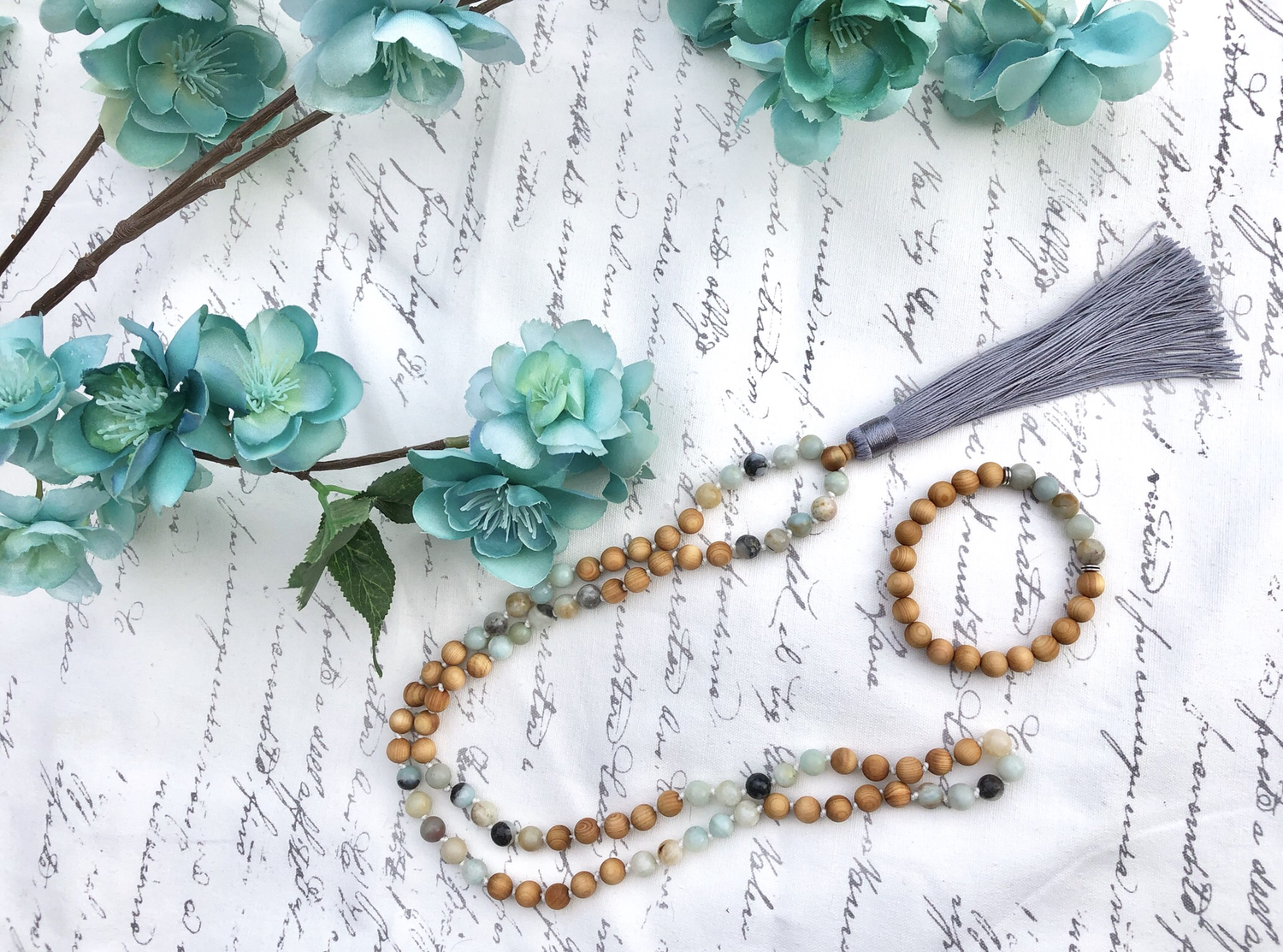 Amazonite & Cedarwood Mala Set