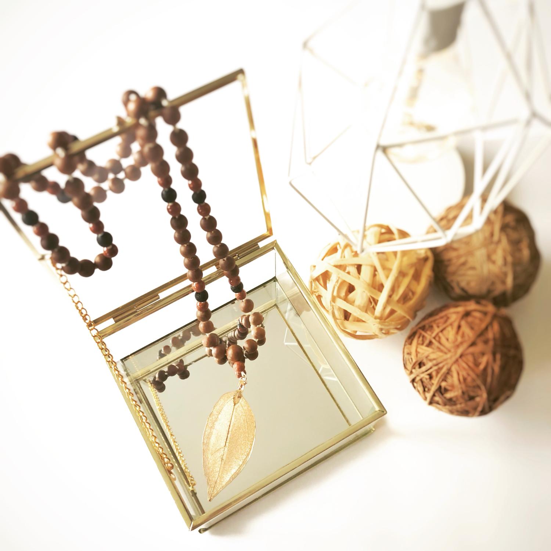 Sandalwood and Goldstone Mala Necklace