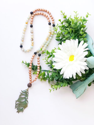 Rosewood and Amazonite Mala Necklace