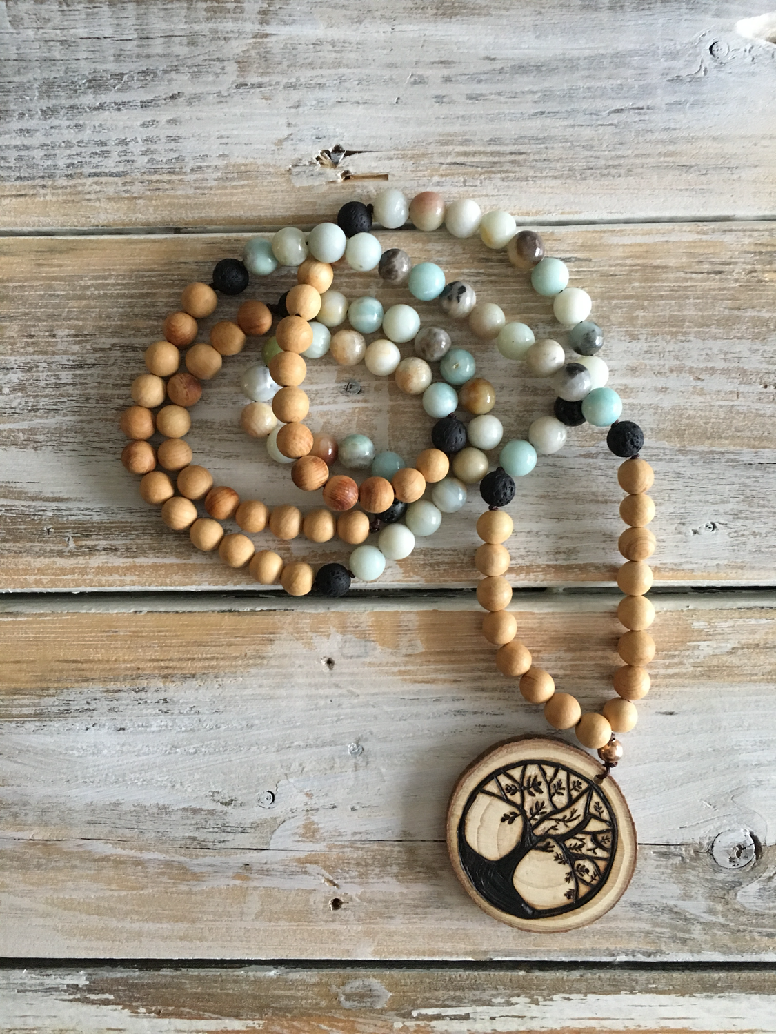 Handmade Wood Burned Family Tree Mala