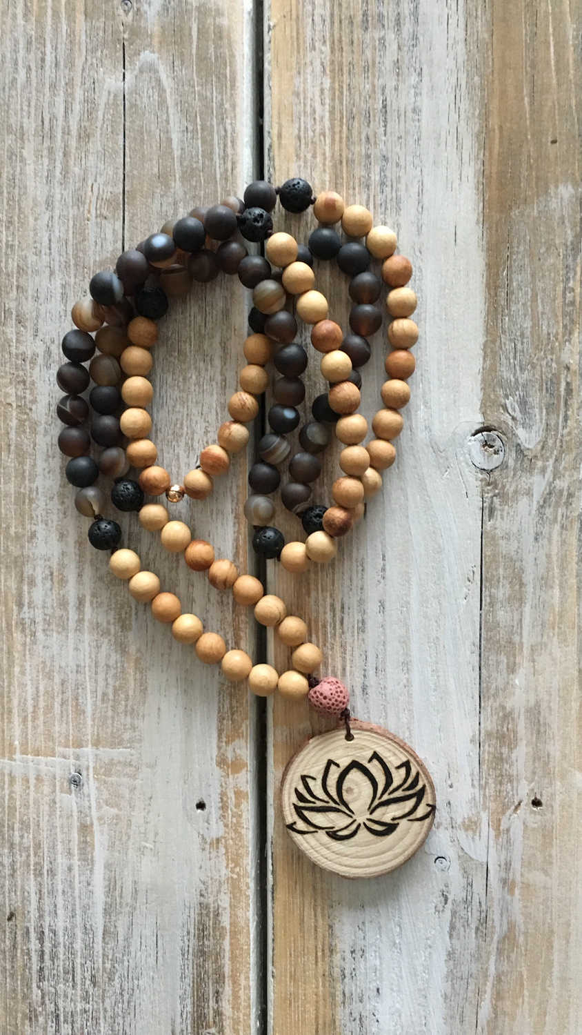 Handmade Wood Burned Lotus Mala