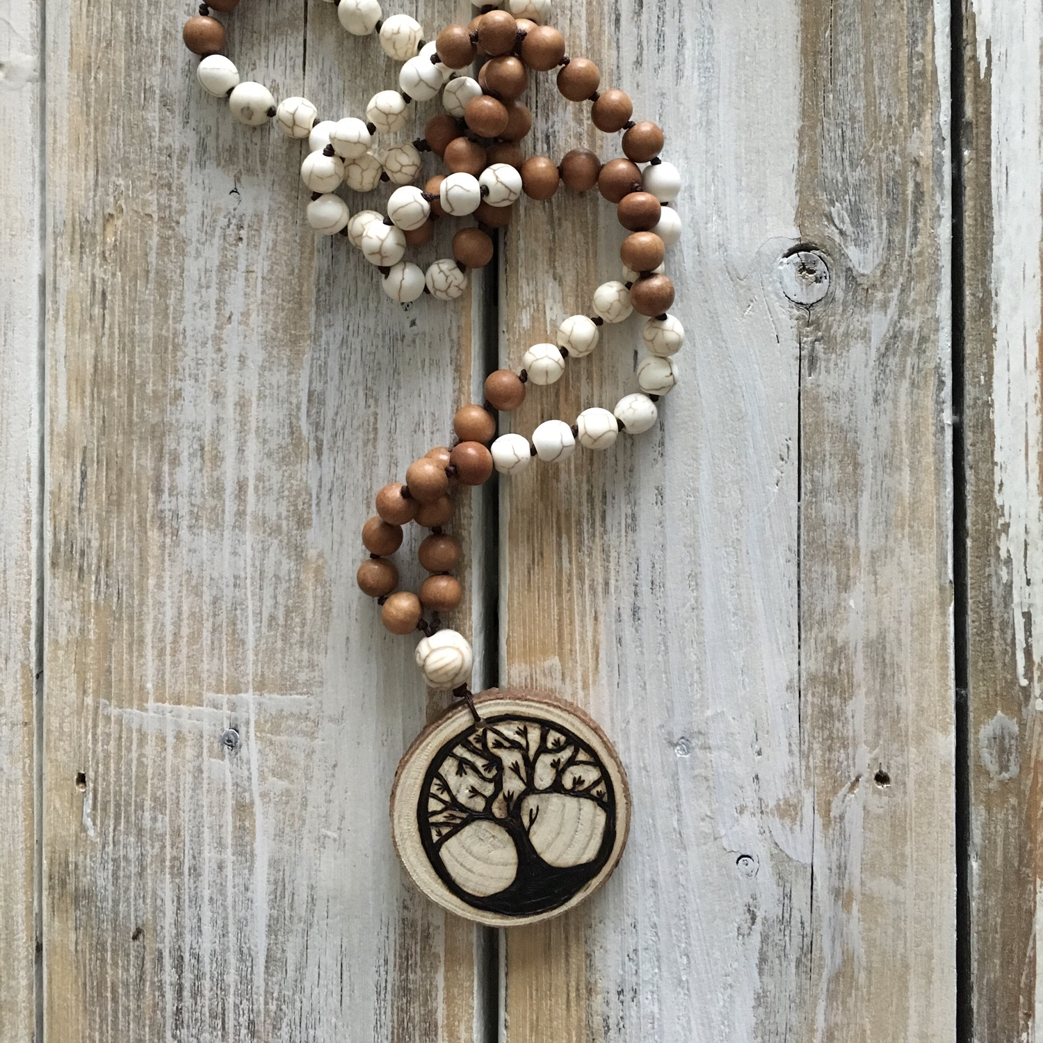 Handmade Wood Burned Family Tree Mala Necklace