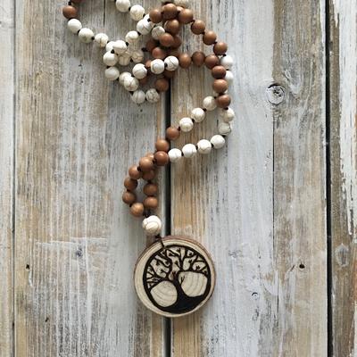 Handmade Wood Burned Family Tree Mala Necklace